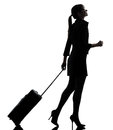 Business woman traveling walking silhouette one traveler studio isolated on white background Royalty Free Stock Photo
