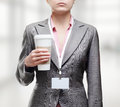 Business woman with a tumbler of coffee Royalty Free Stock Image