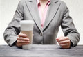 Business woman with a tumbler of coffee Royalty Free Stock Photography