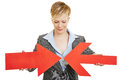 Business woman with two converging arrows big red Royalty Free Stock Images