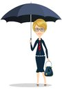 Business woman with umbrella and bag Stock Photo