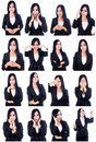 Business woman useful faces portrait of beautiful with multi isolated over white Stock Image