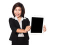 Business woman using digital tablet computer PC happy isolated o Royalty Free Stock Photo