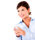 Business woman using smart phone isolated over white background Royalty Free Stock Image