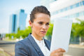 Business woman using tablet pc in modern office district into the ultra trends Royalty Free Stock Photography