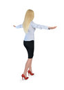 Business woman walk on imaginary rope isolated Royalty Free Stock Image