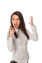 Business woman on the walkie-talkie Royalty Free Stock Image