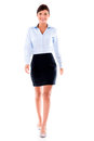 Business woman walking beautiful isolated over white background Royalty Free Stock Photo