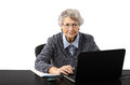 Business woman watching suspicious news on the internet old very screen of her laptop Royalty Free Stock Photos
