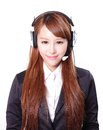 Business woman wearing headset close up portrait of a asian model Stock Photography
