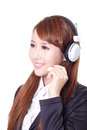 Business woman wearing headset close up portrait of a asian model Stock Photo