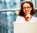 Business woman wearing spectacles Stock Photo