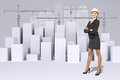 Business woman and white cubes with wire-frame Royalty Free Stock Photo