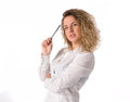 Business woman in a white shirt isolated over a white background Stock Photography