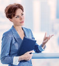 Business woman at work closeup portrait of intelligent young making deal successful female ceo of great company success concept Royalty Free Stock Photos