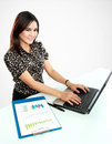 Business woman working at her office on white background Royalty Free Stock Photography