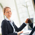 Business woman working on a laptop Stock Photos