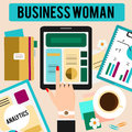 Business woman workspace concept flat vector illustration. Female hand with touchpad and table with office stuff. Top view Royalty Free Stock Photo