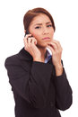 Business woman worries onthe phone Royalty Free Stock Photo