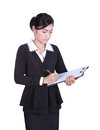 Business woman write information on clipboard isolated on white Royalty Free Stock Photo