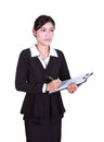 Business woman write information on clipboard isolated on white background Royalty Free Stock Photography