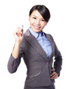 Business woman writing in the air Royalty Free Stock Photo