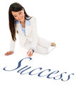 Business woman writing success the word on the floor Royalty Free Stock Photography