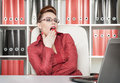 Business woman yawning beautiful in glasses at work Royalty Free Stock Photo