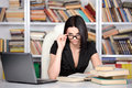 Business woman young beautiful working at the library Royalty Free Stock Photos