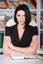 Business woman young beautiful working at the library Royalty Free Stock Image