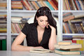Business woman young beautiful working at the library Stock Images