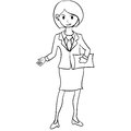 Business women character with hand draw
