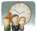 Business women with clock illustration of people Royalty Free Stock Photos