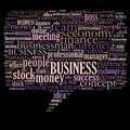 Business word cloud related illustration speech bubble Stock Photos