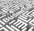 Business word in maze shows commerce or entrepreneur Royalty Free Stock Image