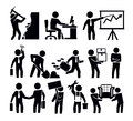 Business and worker vector black icon set Royalty Free Stock Images