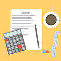 Business Workplace with papers, calculator, pencil, ruler, eraser and coffee. Work Accounting table. Office desktop. Royalty Free Stock Photo