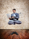 Business yoga levitation Royalty Free Stock Photo