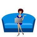 Business young woman with notebook sit on sofa Stock Images