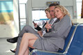 Businesscouple in departure lounge Royalty Free Stock Photo