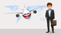 Businessman and airplane flying in background