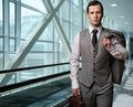 Businessman in an airport Royalty Free Stock Images