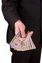 Businessman with american dollars in suit Stock Photos