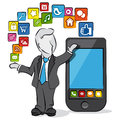 Businessman and apps cartoon of a with for smartphone Royalty Free Stock Photos