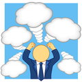 Businessman arm lift in convey emotions and thinking vector illustration of Royalty Free Stock Photo