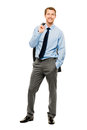 Businessman arms folded smiling isolated white background young full length Stock Photo