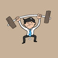 Businessman attempt weight lifting Royalty Free Stock Photo