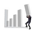Businessman is attempted by carry graph to increase from background Stock Photography