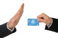 Businessman avoiding credit card close up of a s hand over white background Stock Photography
