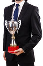 Businessman awarded with prize cup isolated on white Royalty Free Stock Photography